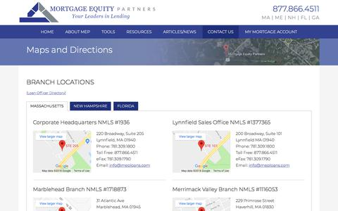 Screenshot of Maps & Directions Page mortgageequitypartners.com - Maps and Directions | Mortgage Equity Partners - captured Sept. 21, 2018
