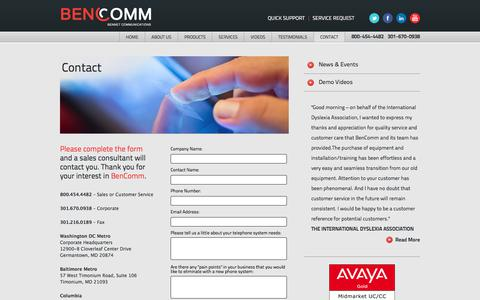 Screenshot of Contact Page bencomm.com - Avaya | Polycom | VoIP | Cloud or Premise | BenComm - captured Oct. 10, 2017