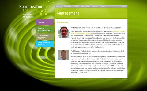 Screenshot of Team Page spinnovation-analytical.com - Management - captured Oct. 7, 2014