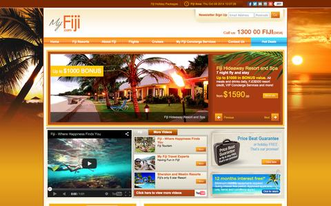 Screenshot of Home Page myfiji.com - Fiji Holiday Packages - My Fiji - captured Oct. 9, 2014