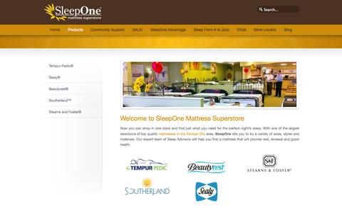 Screenshot of Products Page sleepone.com - Top Quality Products of Mattresses in Kansas City Area – Mattresses in KC – SleepOne - captured Oct. 8, 2014