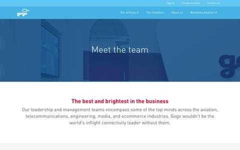 Screenshot of Team Page gogoair.com - Leadership & management | Gogo - captured Jan. 15, 2016