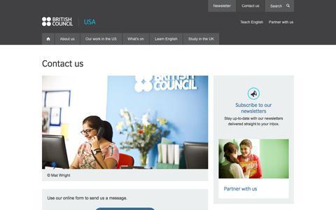 Screenshot of Contact Page britishcouncil.us - Contact us | British Council - captured Jan. 14, 2020