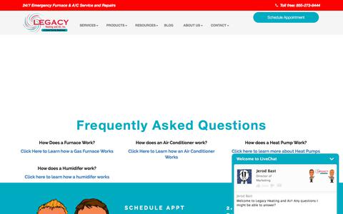 Screenshot of FAQ Page legacyheatingandairinc.com - Frequently Asked Questions | Legacy Heating and Air, Inc. - captured July 17, 2018