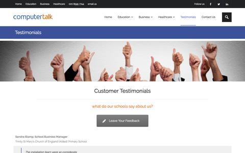 Screenshot of Testimonials Page computertalk.co.uk - Testimonials - ComputerTalk - 020 8595 7744 - captured Aug. 12, 2017