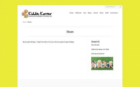Screenshot of Hours Page kiddiekornercdc.org - Hours | Kiddie Korner - captured June 19, 2016