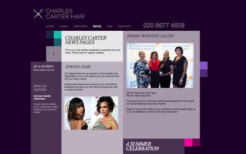 Screenshot of Press Page charlescarterhair.com - Charles Carter Hair - captured Sept. 29, 2014