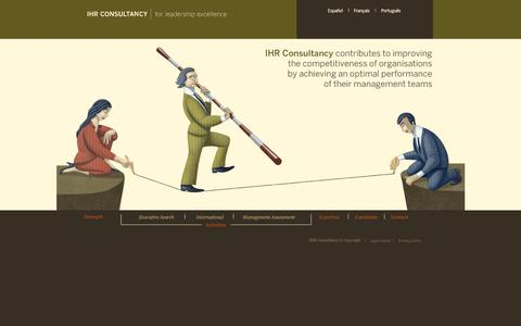 Screenshot of Home Page ihrconsultancy.com - IHR Consultancy | for leadership excellence. English - captured Sept. 26, 2014