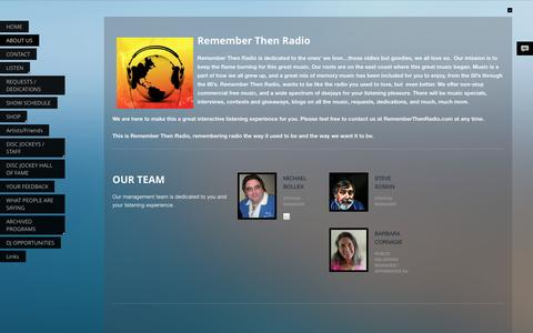 Screenshot of About Page rememberthenradio.com - ABOUT US - captured Sept. 30, 2014