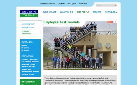 Screenshot of Team Page severntrentservices.com - Employee Testimonials - Severn Trent - North America - captured Feb. 26, 2016