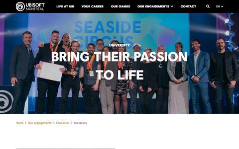 Screenshot of Testimonials Page ubisoft.com - University - Ubisoft Montréal - captured Nov. 8, 2019