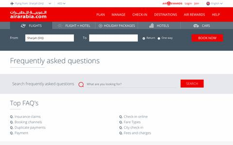 Screenshot of FAQ Page airarabia.com - Frequently asked questions | Air Arabia - captured Oct. 3, 2018