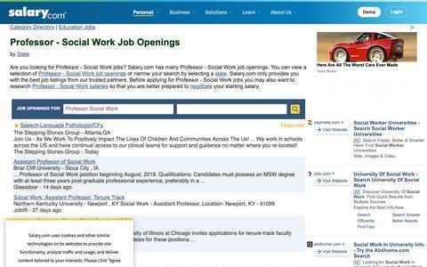 Screenshot of Jobs Page salary.com - Professor - Social Work Job Openings | Salary.com - captured Oct. 26, 2018
