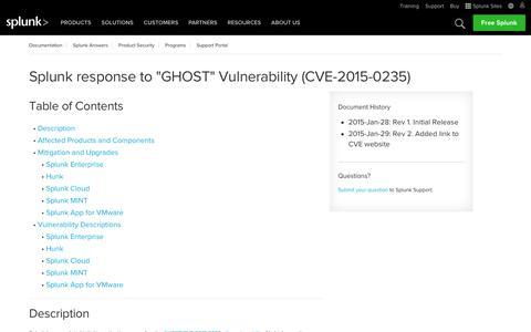"Splunk response to ""GHOST"" Vulnerability (CVE-2015-0235) | Splunk"