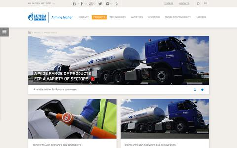 Screenshot of Products Page gazprom-neft.com - Products and Services — Gazprom Neft PJSC - captured May 11, 2018