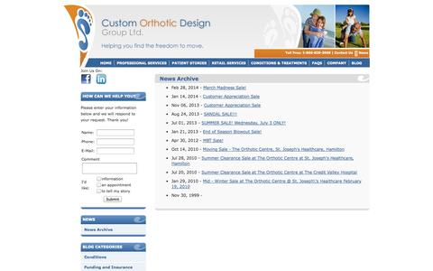 Screenshot of Press Page customorthotic.ca - CODG  - - captured Oct. 3, 2014