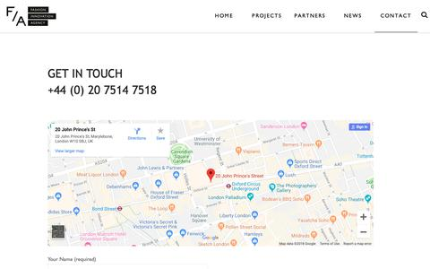 Screenshot of Contact Page fialondon.com - Fashion Innovation Agency Contact Fashion Innovation Agency - captured Oct. 10, 2018