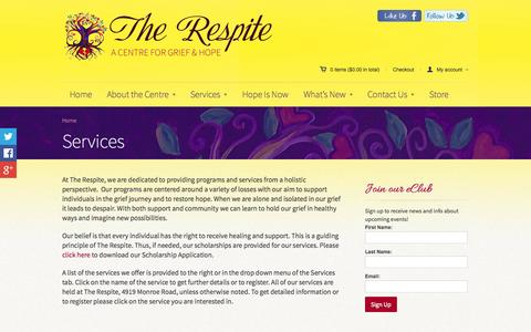 Screenshot of Services Page therespite.org - Grief Counseling Services | Bereavement Counselor  | The Respite - captured Oct. 3, 2014