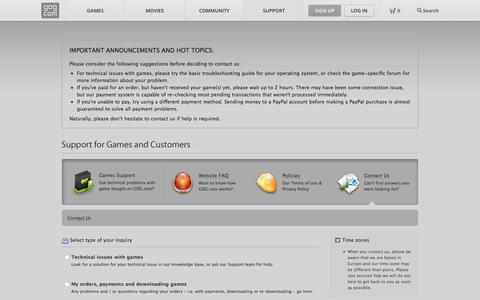 Screenshot of Contact Page gog.com - Contact Us - GOG.com - captured Aug. 19, 2016