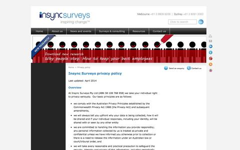 Screenshot of Privacy Page insyncsurveys.com.au - Privacy policy - captured Oct. 6, 2014