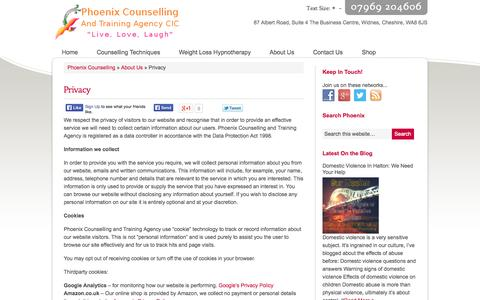 Screenshot of Privacy Page phoenixcounsellingnw.co.uk - Privacy: Phoenix Counselling and Training Agency Web Privacy Policy - captured Oct. 2, 2014