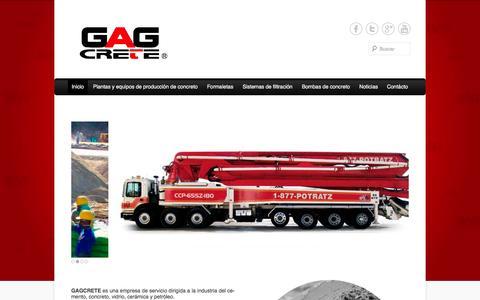 Screenshot of Home Page Menu Page gagcrete.com captured Oct. 1, 2014
