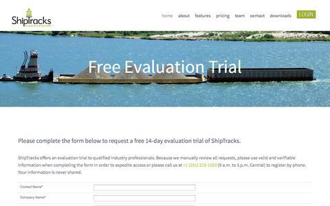 Screenshot of Trial Page shiptracks.com - ShipTracks   Evaluation Trial - captured Oct. 29, 2014