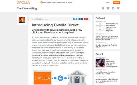 Screenshot of dwolla.com - Digital Payments   The Dwolla Blog - captured Dec. 13, 2014
