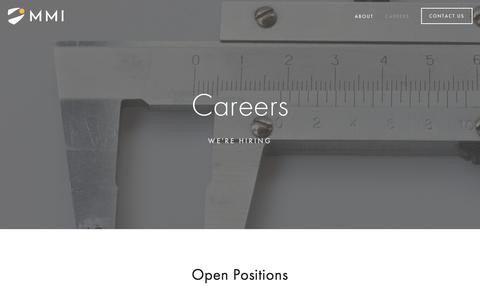 Screenshot of Jobs Page mmimicro.com - Careers — MMI Microinstruments - captured March 16, 2016