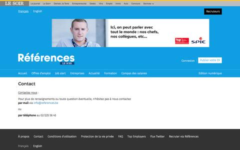 Screenshot of Contact Page lesoir.be - Contact - captured Nov. 18, 2016