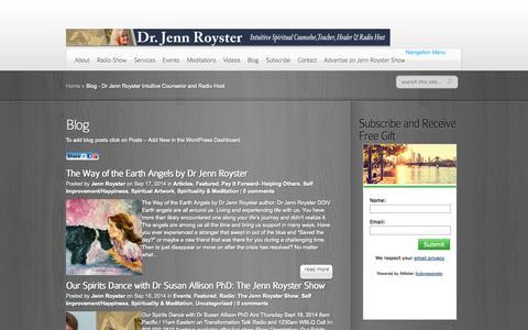 Screenshot of Blog jennroyster.com - Blog - Dr Jenn Royster Intuitive Counselor and Radio Host - captured Sept. 19, 2014