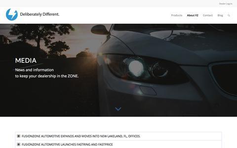 Screenshot of Press Page fzautomotive.com - Media – fusionZONE AUTOMOTIVE - captured July 4, 2019