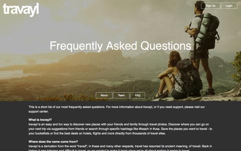 Screenshot of FAQ Page travayl.com - FAQ | travayl - captured Nov. 5, 2014
