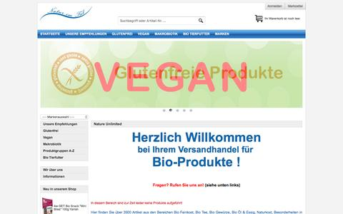 Screenshot of Home Page nature-unlimited.de - Naturkost und Bio Feinkost im bundesweiten Versand - captured June 10, 2016