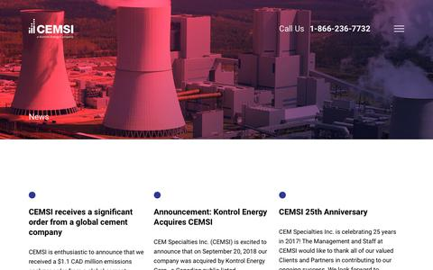 Screenshot of Press Page cemsi.on.ca - News Archive - CEMSI - captured Dec. 13, 2018