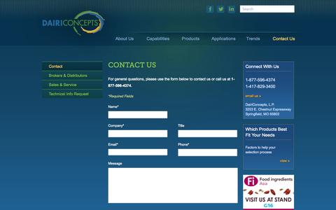 Screenshot of Contact Page dairiconcepts.com - Contact DairiConcepts - captured Sept. 30, 2014