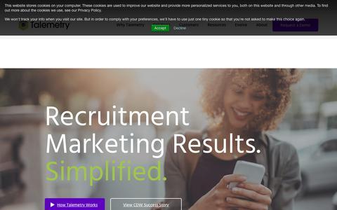 Screenshot of Home Page talemetry.com - Talemetry - The Leading Recruitment Marketing Platform - captured Sept. 13, 2018