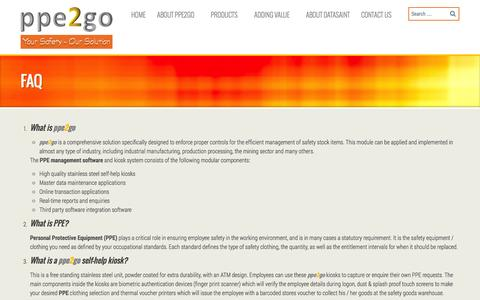 Screenshot of FAQ Page ppe2go.com - ppe2go FAQ | PPE2GO - captured Sept. 30, 2014