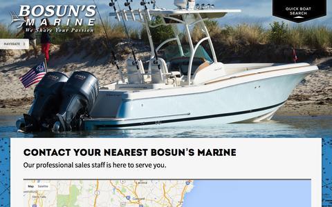 Screenshot of Contact Page bosuns.com - Contact Us   Bosun's Marine - captured Feb. 8, 2016