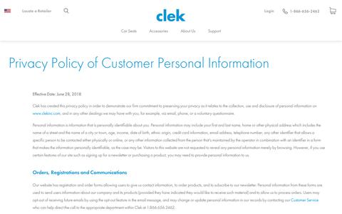 Screenshot of Privacy Page clekinc.com - Privacy Policy of Customer Personal Information – Clek Inc. USA - captured July 18, 2018