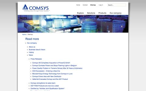 Screenshot of Site Map Page comsys.se - Comsys_Sitemap - Comsys AB  - Creating Value Through Power Quality - captured Oct. 2, 2014