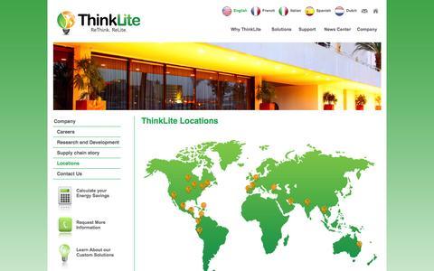 Screenshot of Locations Page thinklite.com - ThinkLite LLC - captured Sept. 23, 2014