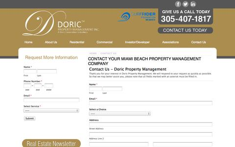Screenshot of Contact Page doricproperty.com - Contact Your Miami Property Management Company - Contact Us | Doric Property Management - captured Oct. 5, 2014
