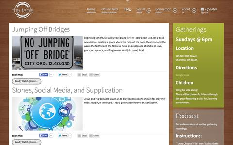 Screenshot of Blog thetablecommunity.com - Blog Archives » the table - captured Oct. 9, 2014