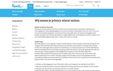 Screenshot of Privacy Page fonq.nl - Wij nemen je privacy uiterst serieus - captured Jan. 7, 2016