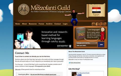 Screenshot of Contact Page mezzoguild.com - Contact Me | The Mezzofanti Guild - captured Nov. 1, 2014