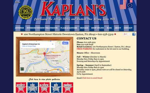 Screenshot of Contact Page kaplanawning.com - Kaplan AwningKaplan Awning - Contact - Local service to Lehigh Valley, Warren County, Slate Belt, Poconos, Hunterdon - captured Oct. 6, 2014