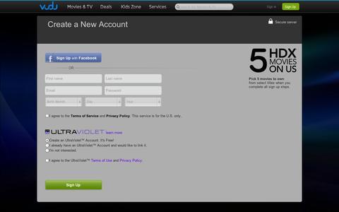 Screenshot of Signup Page vudu.com - My VUDU - Account Setup - captured Sept. 12, 2014