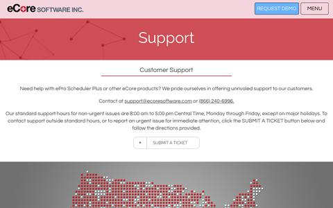 Screenshot of Support Page ecoresoftware.com - Support - eCore - captured July 16, 2017