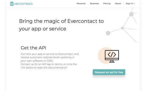 Screenshot of Developers Page evercontact.com - Developer & APIs - Evercontact - captured Aug. 31, 2016